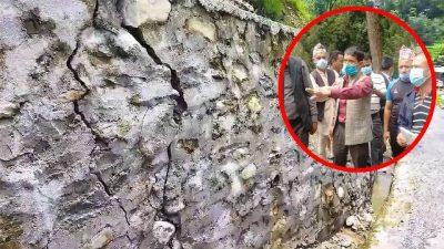 डेढ महिनामै भत्कियो पर्खाल र नाली (भिडियो खबर)